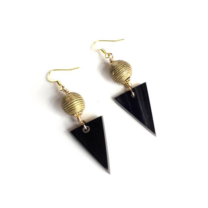 Ankole and Brass Bead Drop Earrings