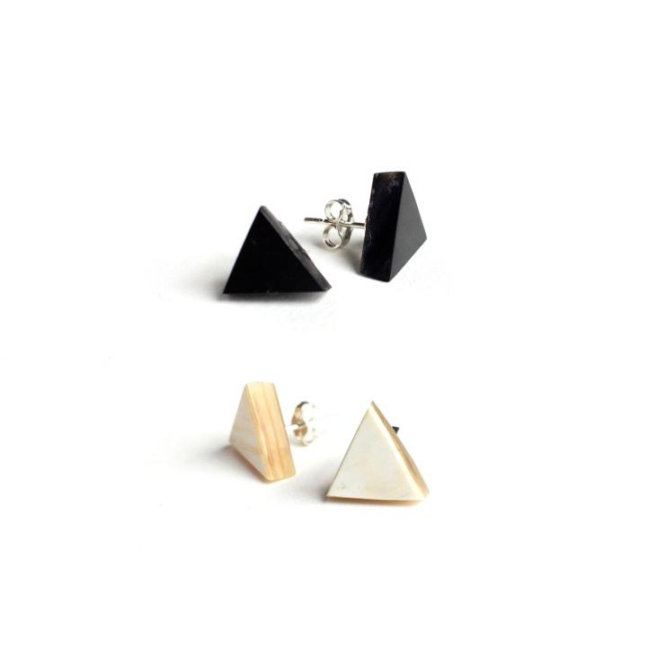 Ankole Triangle Stud Earrings both