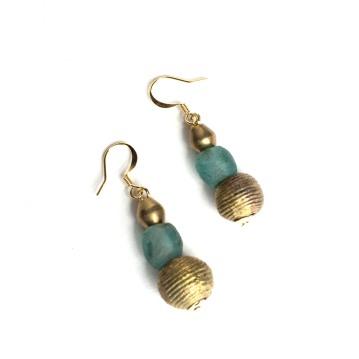 Brass and Seafoam Drop Earrings